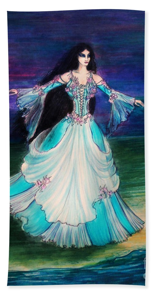 Ameynra Hand Towel featuring the painting Ameynra. Night Dance Before Wedding by Sofia Metal Queen