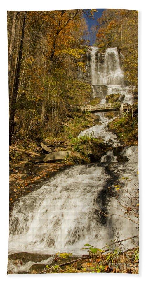 Amicola Falls Bath Towel featuring the photograph Amicola Falls Gushing by Barbara Bowen