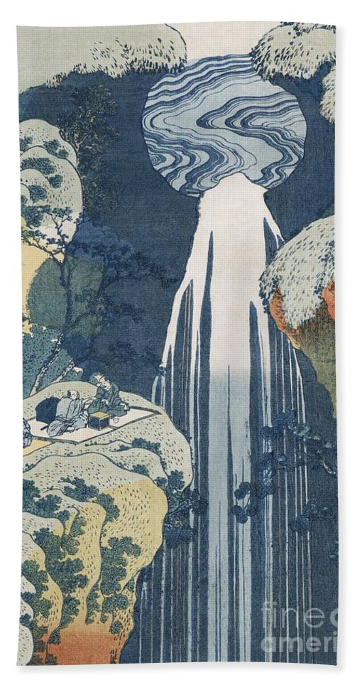 Landscape Hand Towel featuring the painting Amida Waterfall by Hokusai