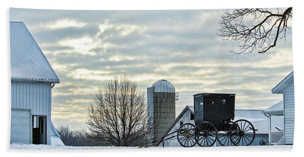 Amish Bath Sheet featuring the photograph Amish Buggy At Morning by David Arment