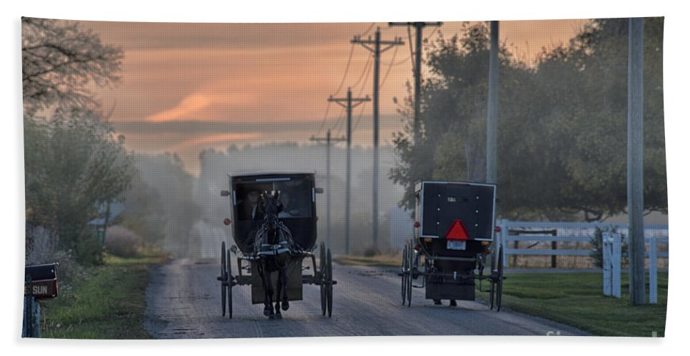 Amish Bath Sheet featuring the photograph Amish Buggy Sunday Morning by David Arment