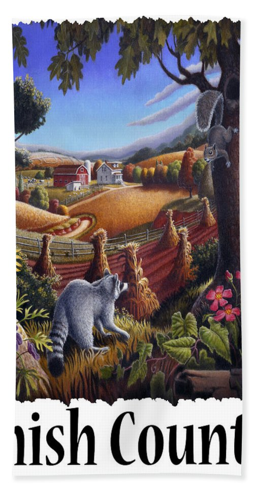 Amish Country Hand Towel featuring the painting Amish Country - Coon Gap Holler Country Farm Landscape by Walt Curlee