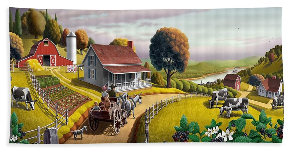 Appalachian Hand Towel featuring the painting Amish Country T Shirt - Appalachian Blackberry Patch Country Farm Landscape by Walt Curlee