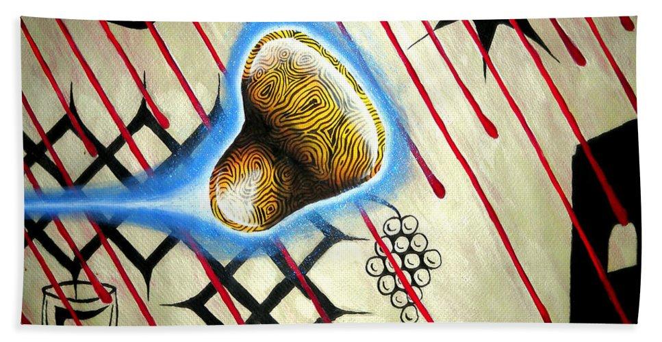 Luke Bath Sheet featuring the painting Amoebanglass2 by Luke Galutia