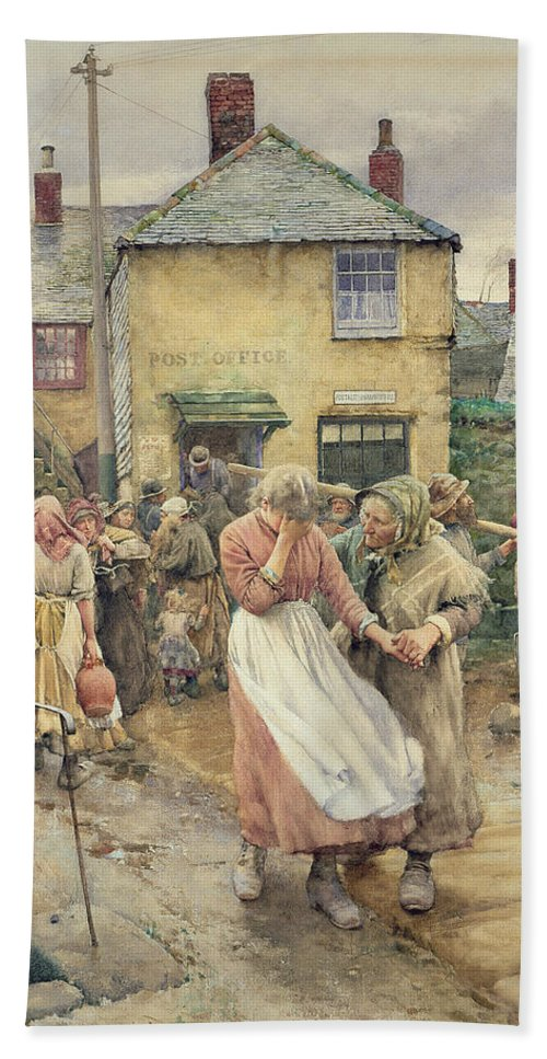 Among The Missing Bath Towel featuring the painting Among The Missing by Walter Langley