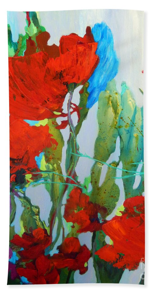 Top Artist Hand Towel featuring the painting Among The Roses by Sharon Nelson-Bianco