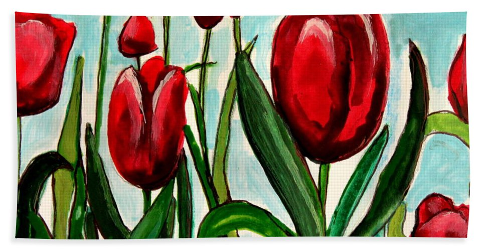 Tulips Hand Towel featuring the painting Among The Tulips by Elizabeth Robinette Tyndall