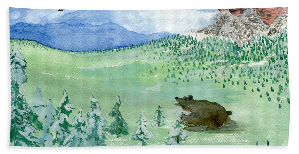Mountains Hand Towel featuring the painting Amongst The Skies by Victor Vosen
