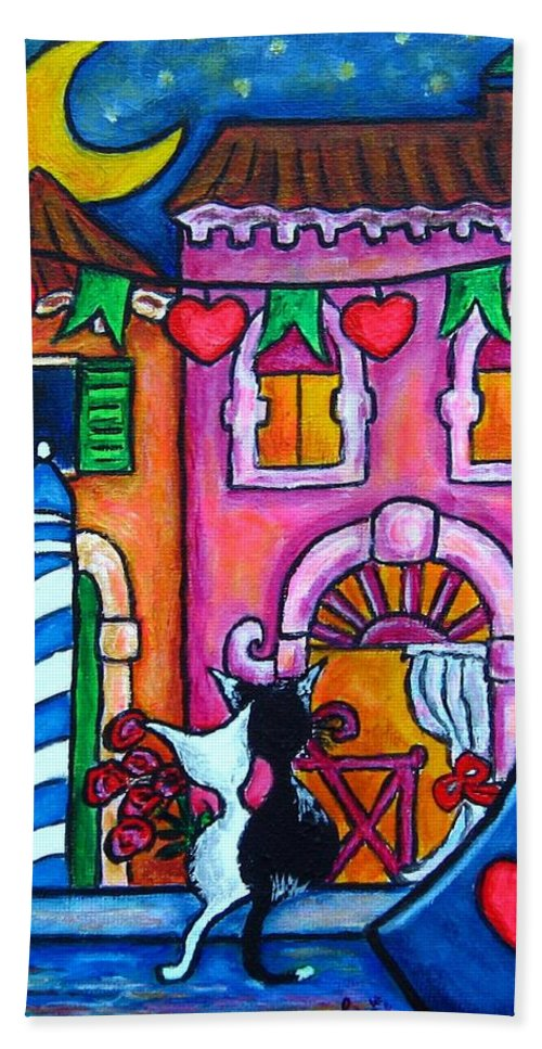 Cats Bath Towel featuring the painting Amore In Venice by Lisa Lorenz