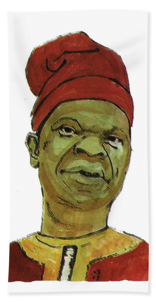 Portraits Bath Sheet featuring the painting Amos Tutuola by Emmanuel Baliyanga