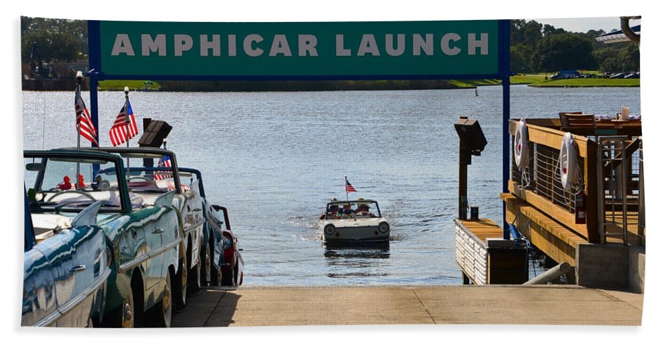 Amphicar Launch Hand Towel featuring the photograph Amphicar Launch by David Lee Thompson