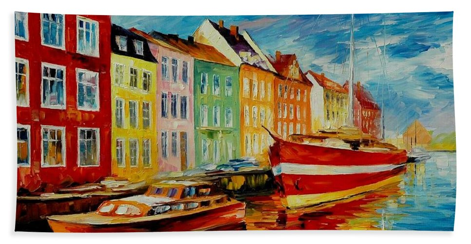 Afremov Bath Sheet featuring the painting Amsterdam - City Dock by Leonid Afremov