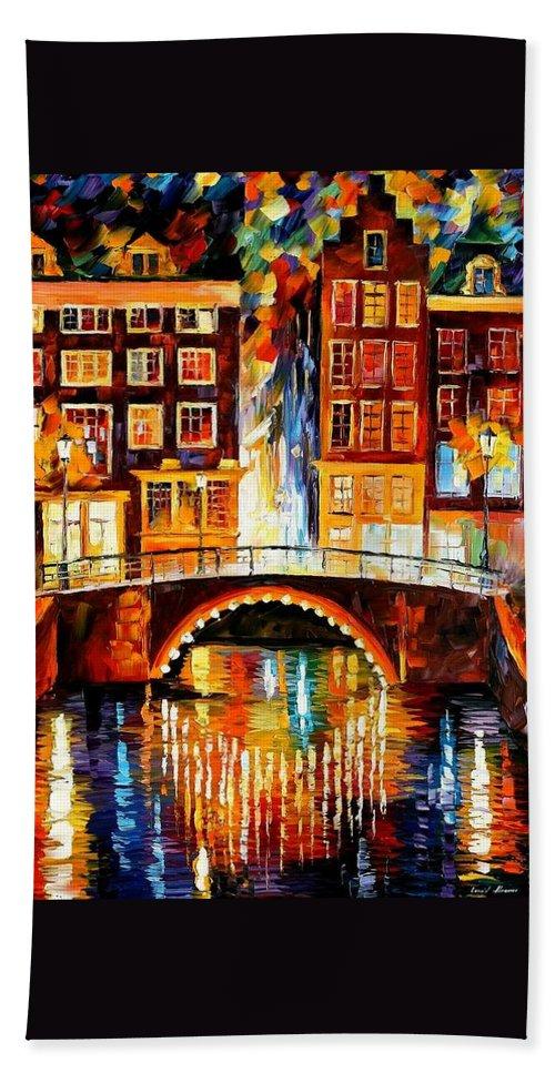 Afremov Hand Towel featuring the painting Amsterdam - Little Bridge by Leonid Afremov