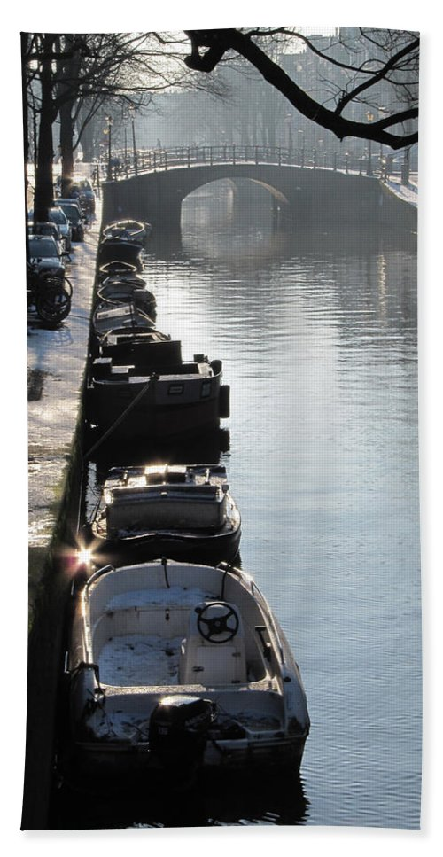 Winter Hand Towel featuring the photograph Amsterdam Canal In Winter by Casper Cammeraat