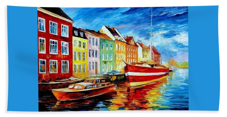 Art Gallery Bath Sheet featuring the painting Amsterdam-city Dock - Palette Knife Oil Painting On Canvas By Leonid Afremov by Leonid Afremov
