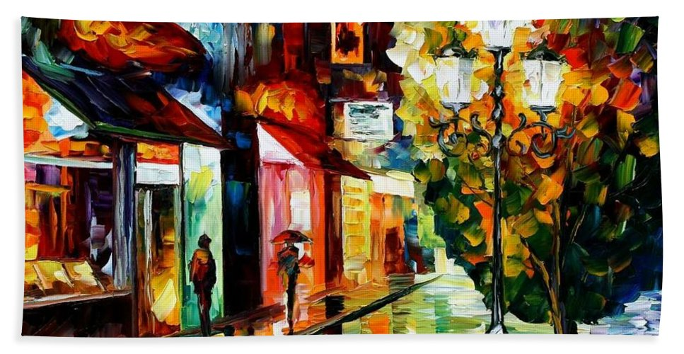 Afremov Hand Towel featuring the painting Amsterdam Night Rain by Leonid Afremov