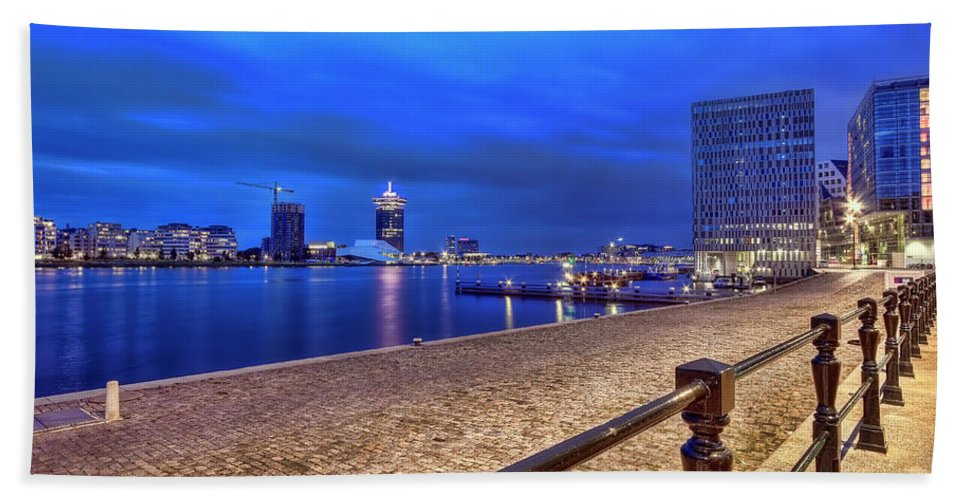 Amsterdam Hand Towel featuring the photograph Amsterdam Waterfront by Nadia Sanowar