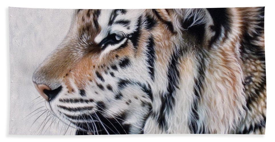 Acrylic Hand Towel featuring the painting Amur by Sandi Baker