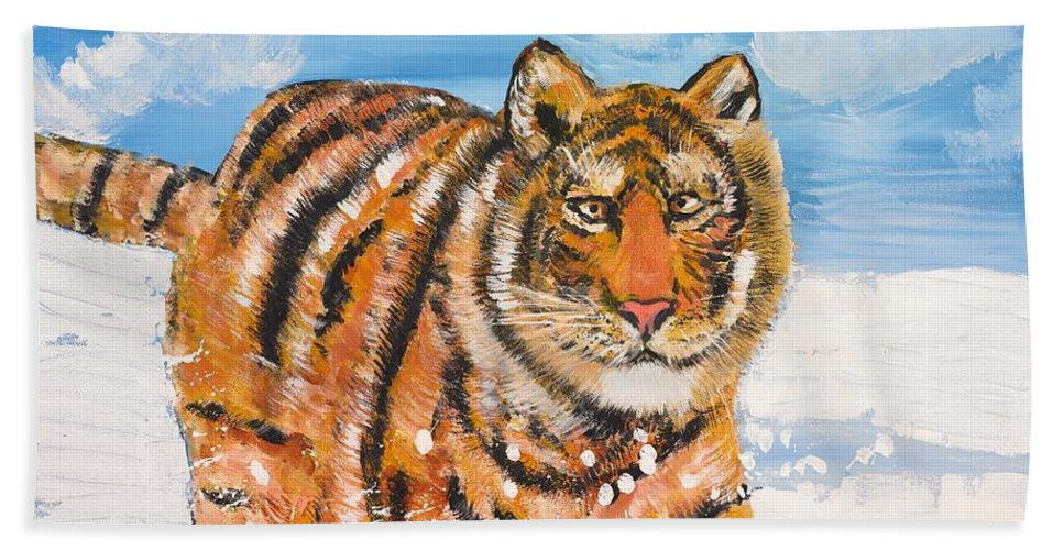 Cat Hand Towel featuring the painting Amur Tiger by Valerie Ornstein