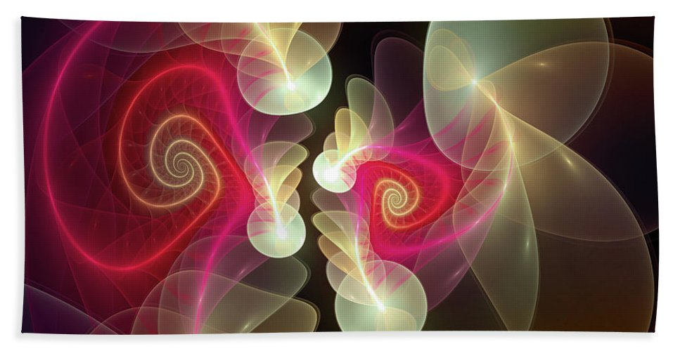 Abstract Hand Towel featuring the digital art Amusement by Casey Kotas