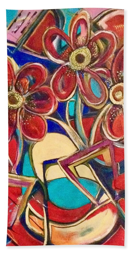 Abstract Bath Sheet featuring the painting An Abstract Floral by Kathy Othon