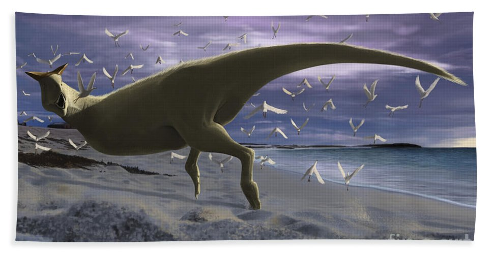 Horizontal Bath Sheet featuring the digital art An Albino Carnotaurus Surprising by Michele Dessi