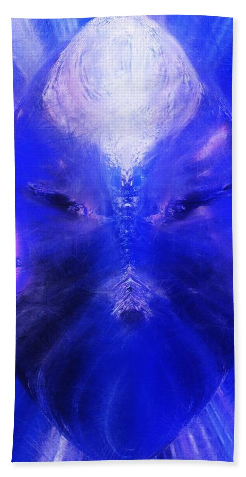 Digital Painting Bath Towel featuring the digital art An Alien Visage by David Lane