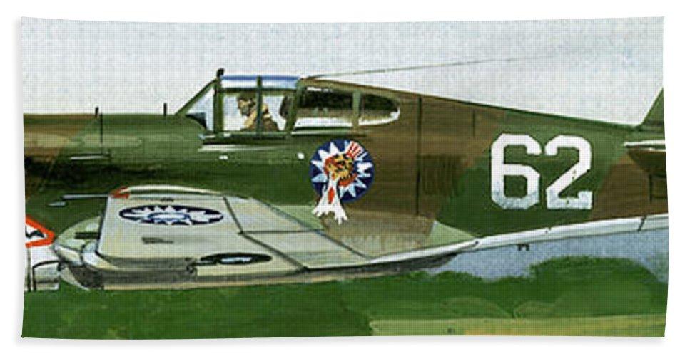 An American Curtiss P40b Fighter Bath Towel featuring the painting An American Curtiss P40 B Fighter by Wilf Hardy