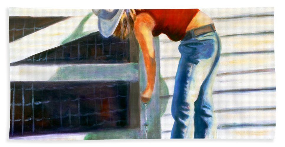 Red Hand Towel featuring the painting An American Girl by Shannon Grissom