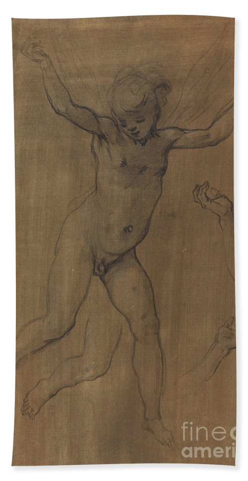 Hand Towel featuring the drawing An Angel In Flight by Jacopo Chimenti
