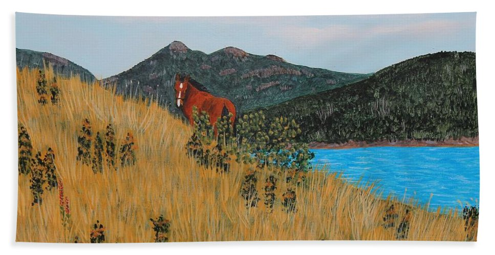 Barbara Griffin Hand Towel featuring the painting An Apple For Blaze by Barbara Griffin