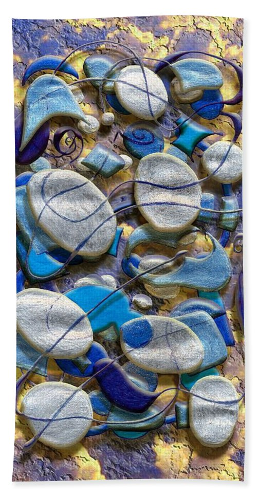 Abstract Bath Sheet featuring the digital art An Arrangement Of Stones by Mark Sellers