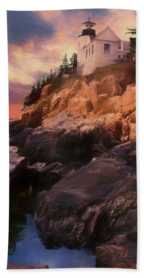 Acadia Nat. Park Hand Towel featuring the photograph An Art Photograph Of Bass Harbor Lighthouse,acadia Nat. Park Ma by Rusty R Smith