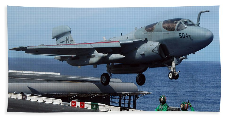 Horizontal Bath Sheet featuring the photograph An Ea-6b Prowler Launches by Stocktrek Images