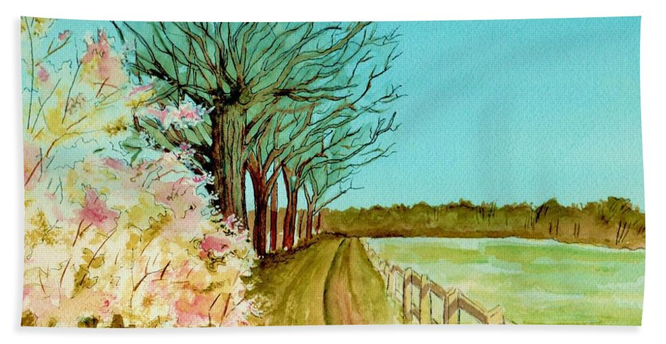 Landscape Bath Sheet featuring the painting An English Footpath by Brenda Owen