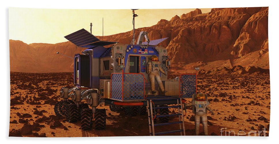 Space Exploration Bath Sheet featuring the digital art An Explorer Departs A Manned Rover Ina by Walter Myers