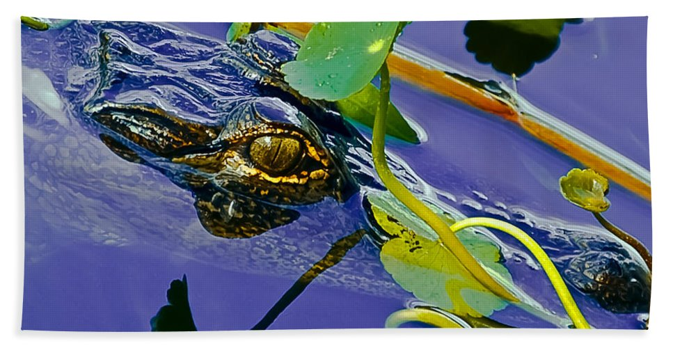Alligator Hand Towel featuring the digital art An Eye For The Camera by DigiArt Diaries by Vicky B Fuller