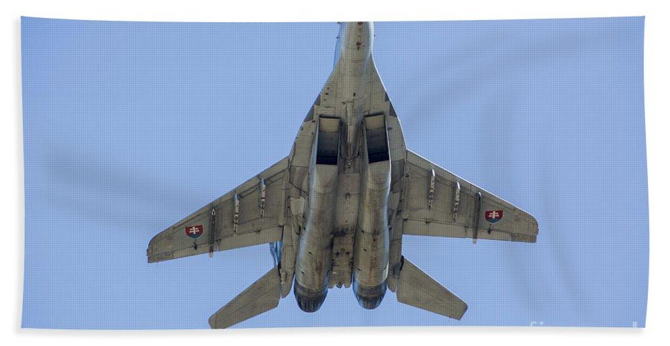 Ostrava Bath Sheet featuring the photograph An Mig-29as Fulcrum Of The Slovak Air by Timm Ziegenthaler