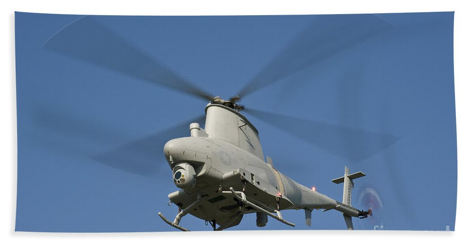 Mq-8 Fire Scout Hand Towel featuring the photograph An Mq-8b Fire Scout Unmanned Aerial by Stocktrek Images