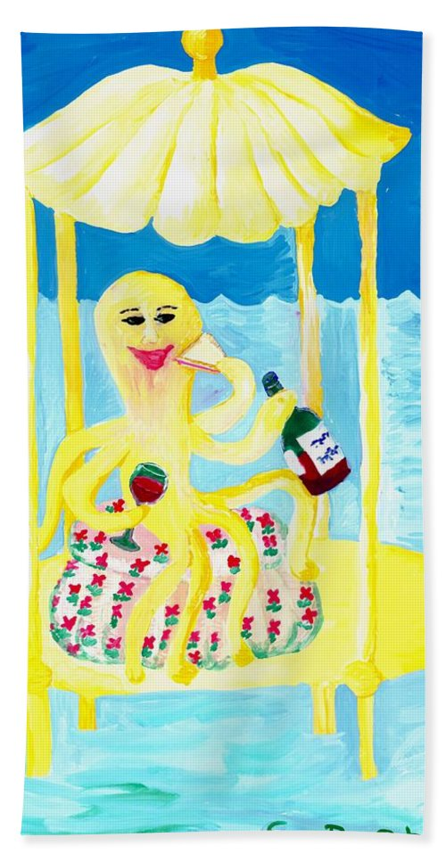 Sue Burgess Bath Sheet featuring the painting An Octopus Summerhouse by Sushila Burgess
