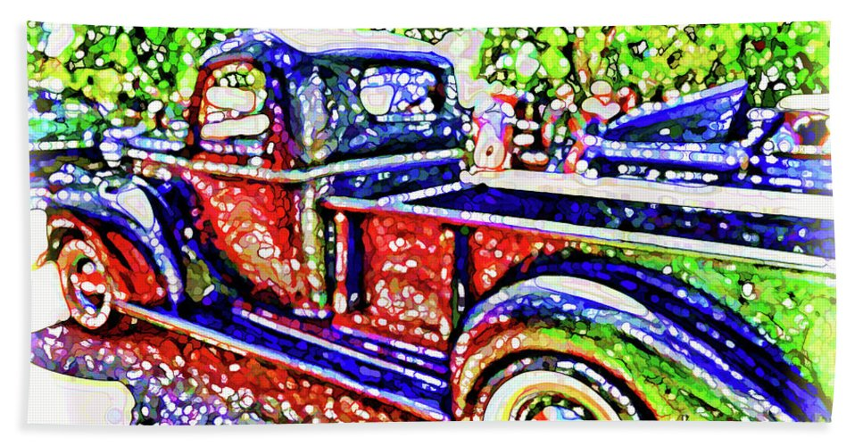 American Classic Car Hand Towel featuring the painting An Old Pickup Truck 3 by Jeelan Clark