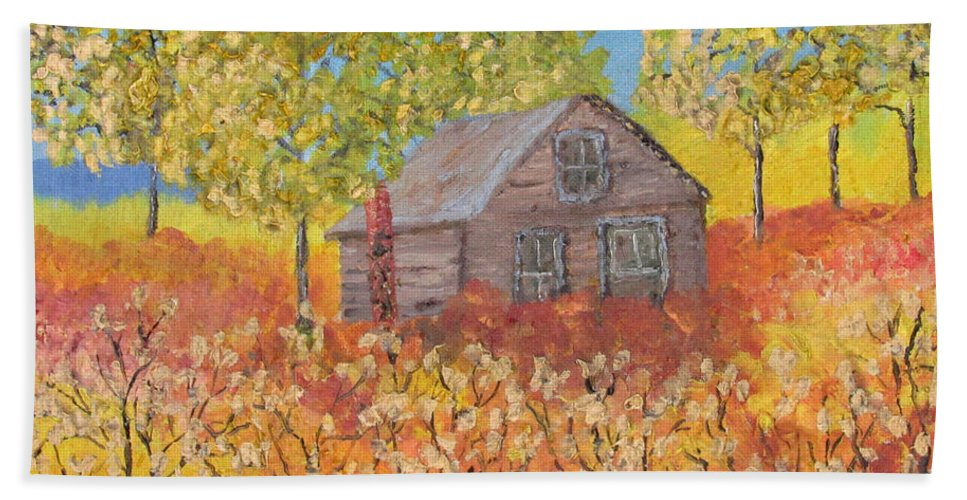 Oil Bath Sheet featuring the painting An Old Abandoned Tenant House by Danny Lowe