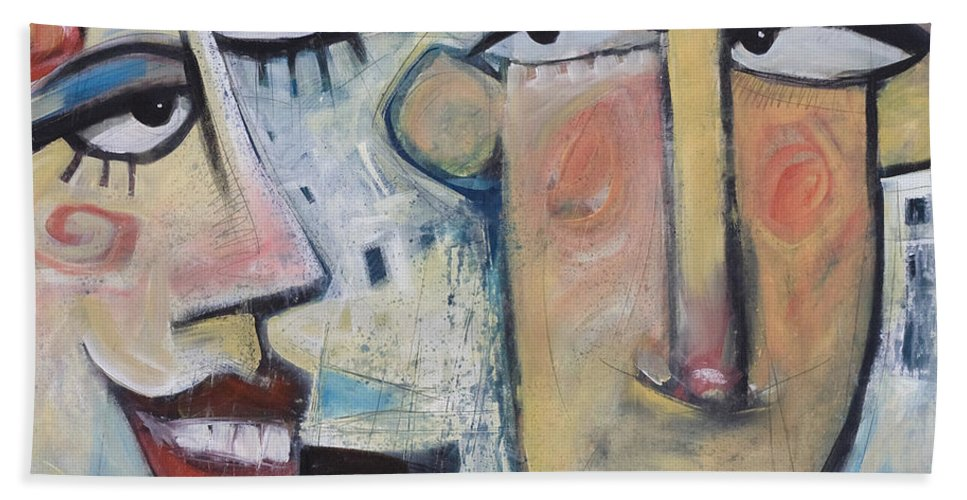 Man Bath Towel featuring the painting An Uncomfortable Attraction by Tim Nyberg