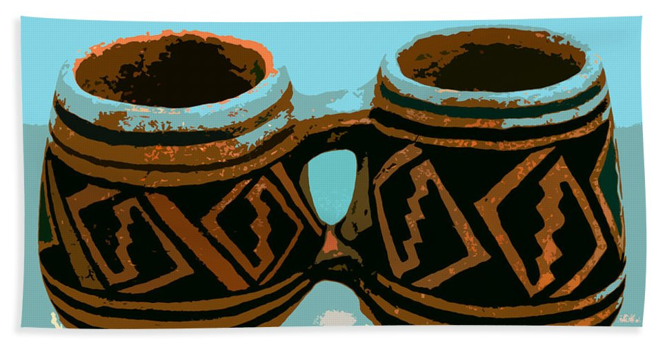 Anasazi Bath Sheet featuring the painting Anasazi Double Mug by David Lee Thompson