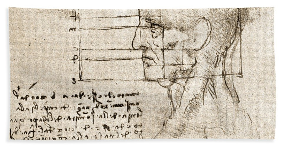Fine Arts Hand Towel featuring the photograph Anatomical Drawing By Leonardo Da Vinci by Wellcome Images