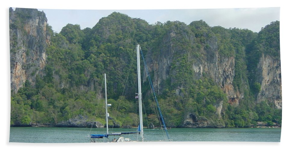 Sail Boat Bath Sheet featuring the photograph Anchored In Paradise by D Turner