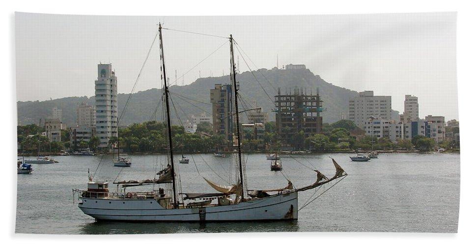 Ship Bath Sheet featuring the photograph Anchored Sailboat by Brett Winn