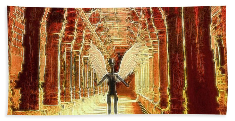 Ufo Hand Towel featuring the digital art Ancient Alien Angel by Raphael Terra