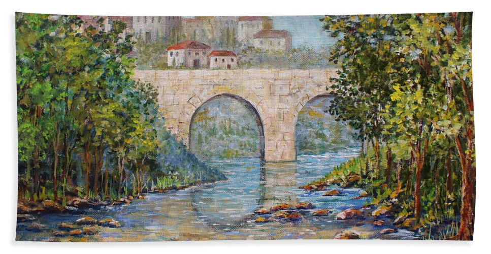 Ancient Bridge Hand Towel featuring the painting Ancient Bridge by Lou Ann Bagnall