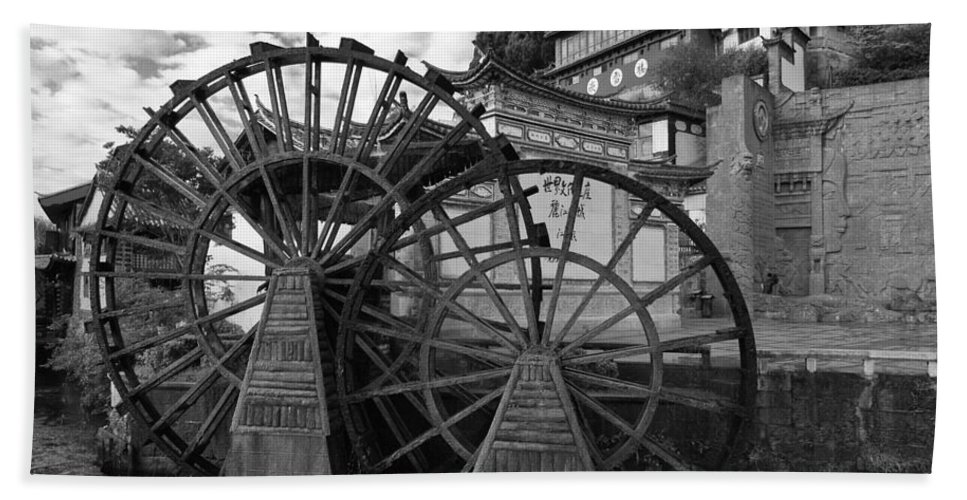 Asia Hand Towel featuring the photograph Ancient Chinese Waterwheels by Michele Burgess
